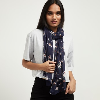 MAX Floral Print Hemmed Stole