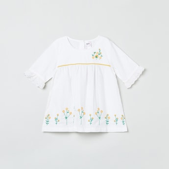 MAX Embroidered Round Neck Top