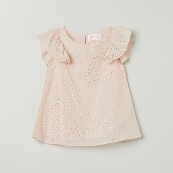 MAX Printed Top with Ruffle Sleeves