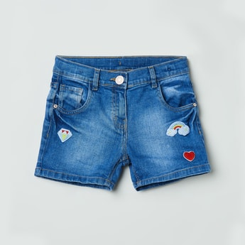 MAX Stonewashed Embroidered Denim Shorts
