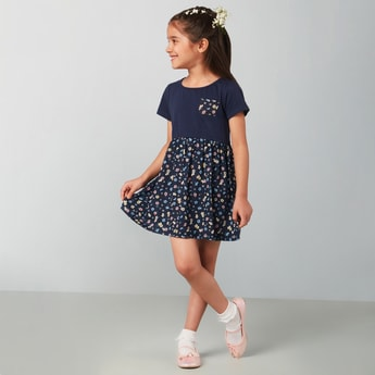 MAX Printed Short Sleeves A-line Dress