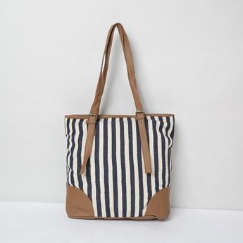 MAX Herringbone Pattern Striped Tote Bag