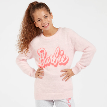 Barbie Textured Sweater with Round Neck and Long Sleeves