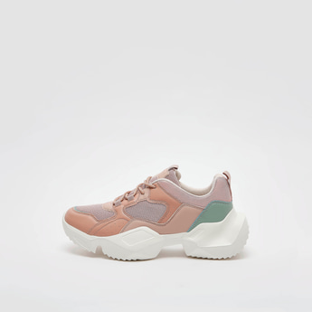 Mesh Detail Chunky Sneakers with Lace-Up Closure