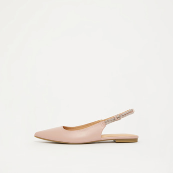 Embellished Pointed Toe Flats with Elastic Closure