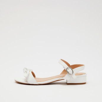 Open Toe Sandals with Buckle Closure and Knotted Bow Applique