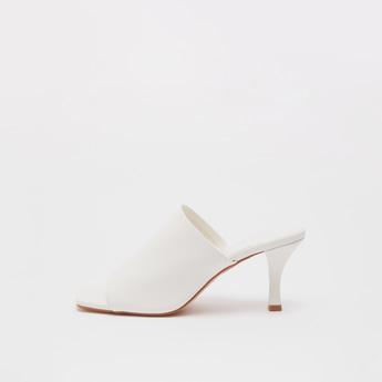 Solid Slip-On Heeled Sandals