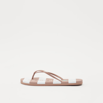 Striped Text Print Flip Flops with Textured Straps