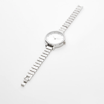 Solid Analog Wristwatch with Round Dial and Patterned Strap