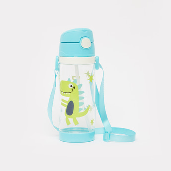 Printed Water Bottle with Flip Lid and Strap - 550 ml