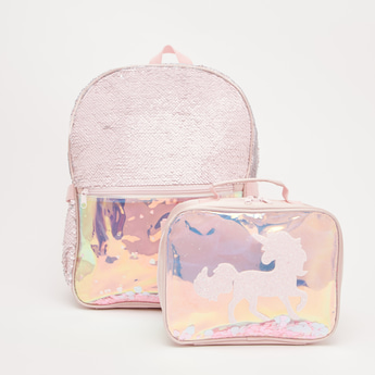 Sequin Detail Backpack with Lunch Bag -15.70 Inches