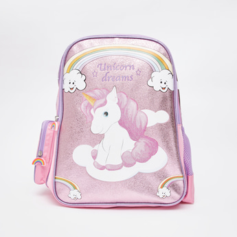 Unicorn Print Backpack with Adjustable Straps and Zip Closure