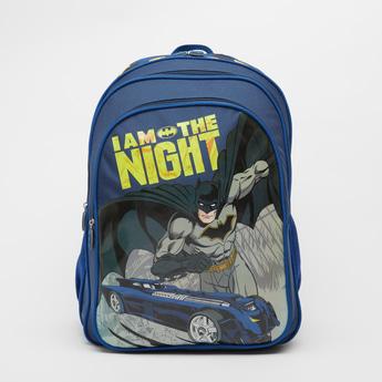 Batman Print Backpack with Adjustable Shoulder Straps - 18 Inches