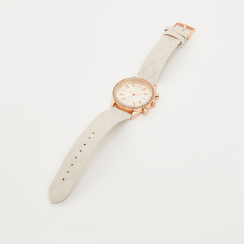 Analog Wristwatch with Embellished Dial and Textured Strap
