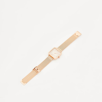 Square Dial Wristwatch with Foldover Clasp