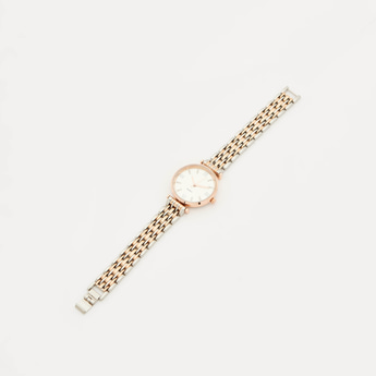 Round Dial Wristwatch with Foldover Clasp