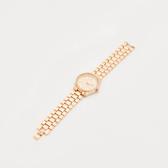 Round Dial Stud Detail Wristwatch with Foldover Clasp