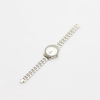 Stone Studded Metal Wristwatch with Foldover Clasp