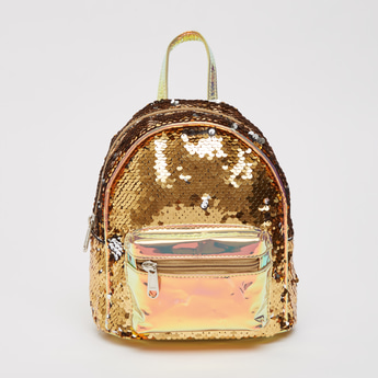 Sequin Embellished Backpack with Shoulder Straps and Zip Closure