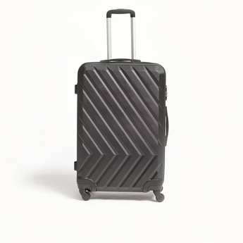 Textured Hard Trolley Suitcase with Retractable Handle - 50x29x74 cms