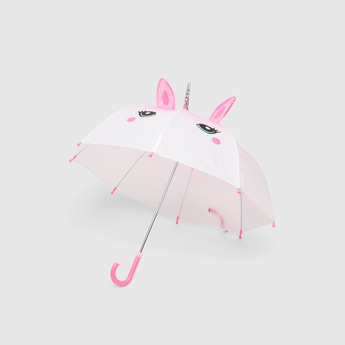 Printed Umbrella with Handle and Applique Detail