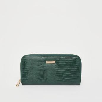 Textured Long Wallet with Zip Closure