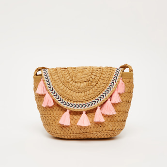 Textured Crossbody Bag with Braided Strap and Tassel Detail