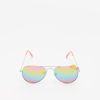 Rainbow Tinted Sunglasses with Smiley Charm Detail