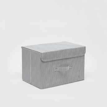 Striped Rectangular Storage Box with Handle - 38x25x25 cms