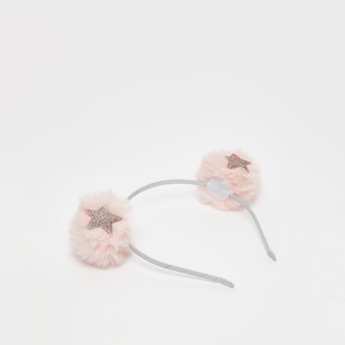 Pleat Detail Hairband with Pom Pom Applique and Star Embellishment