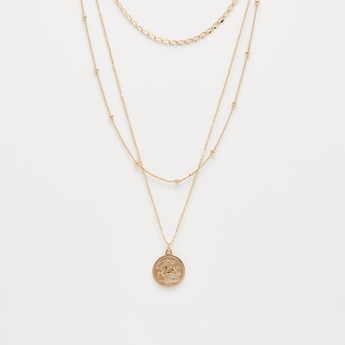 Layered Necklace with Coin Shaped Pendant