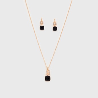 Studded Necklace and Dangler Earrings Set