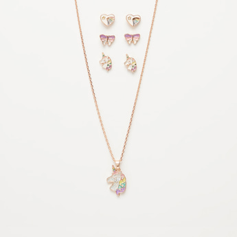 Set of 4 - Unicorn Pendant Necklace and Applique Detail Earrings