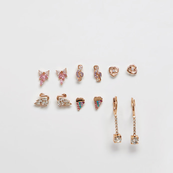 Set of 6 - Embellished Dangling Earrings with Pushback Closure