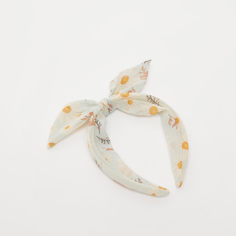 Printed Hairband with Bow Applique Detail