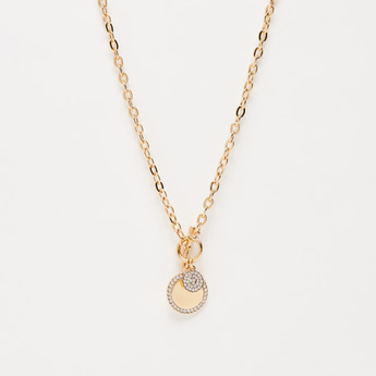Patterned Long Necklace with Studded Pendant
