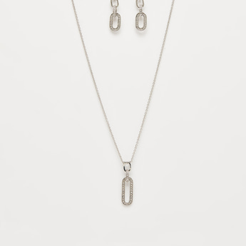 Studded Pendant Necklace with Dangling Earrings Set