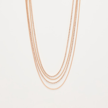 Studded Layered Short Necklace with Lobster Clasp Closure