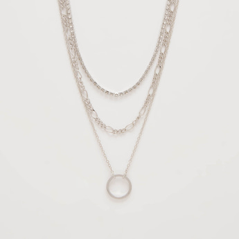 Studded Short Layered Necklace with Lobster Clasp Closure