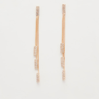Studded Long Dangler Earrings with Push Back Closure