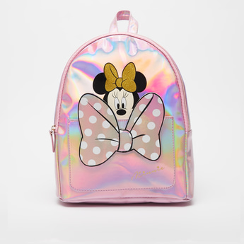 Minnie Mouse Print Backpack with Zip Closure