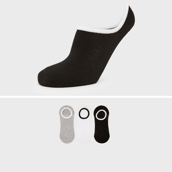 جوارب غير مرئية سادة بحوّاف مطّاطية - طقم من 3 أزواج