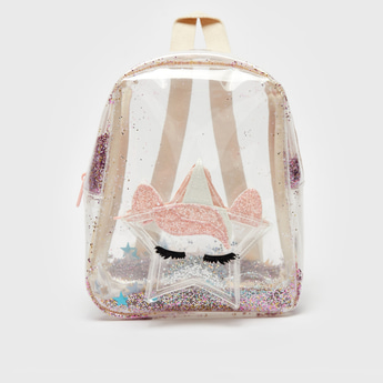 Applique Detail Transparent Backpack with Zip Closure