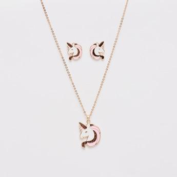Unicorn Applique Detail Pendant Necklace and Earrings Set