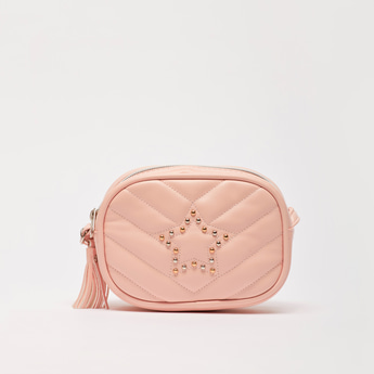 Quilted Crossbody Bag with Zip Closure and Tassel