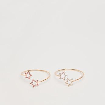 أساور مفتوحة بتصميم نجوم مرصّعة - طقم من قطعتين