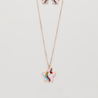 Star and Unicorn Pendant Necklace and Earring Set