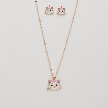 Unicorn Cat Pendant Necklace and Earrings Set