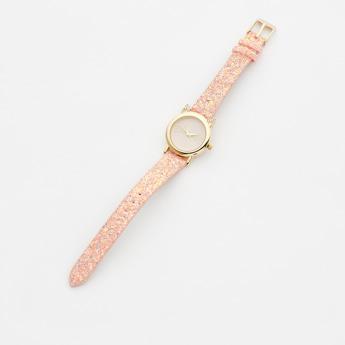 ساعة يد مزينة بالجليتر