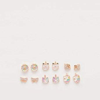 Set of 6 - Embellished Stud Earrings